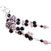Pastel Pink and Black Long Lampwork Swarovski Faux Pearl Dangle Earrings