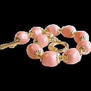 Swarovski Crystal Faux Pearl Bracelet In Pink Coral Tones