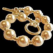 Gold Swarovski Faux Pearl Bracelet