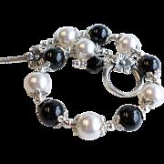Black and White Swarovski Faux Pearl Bracelet