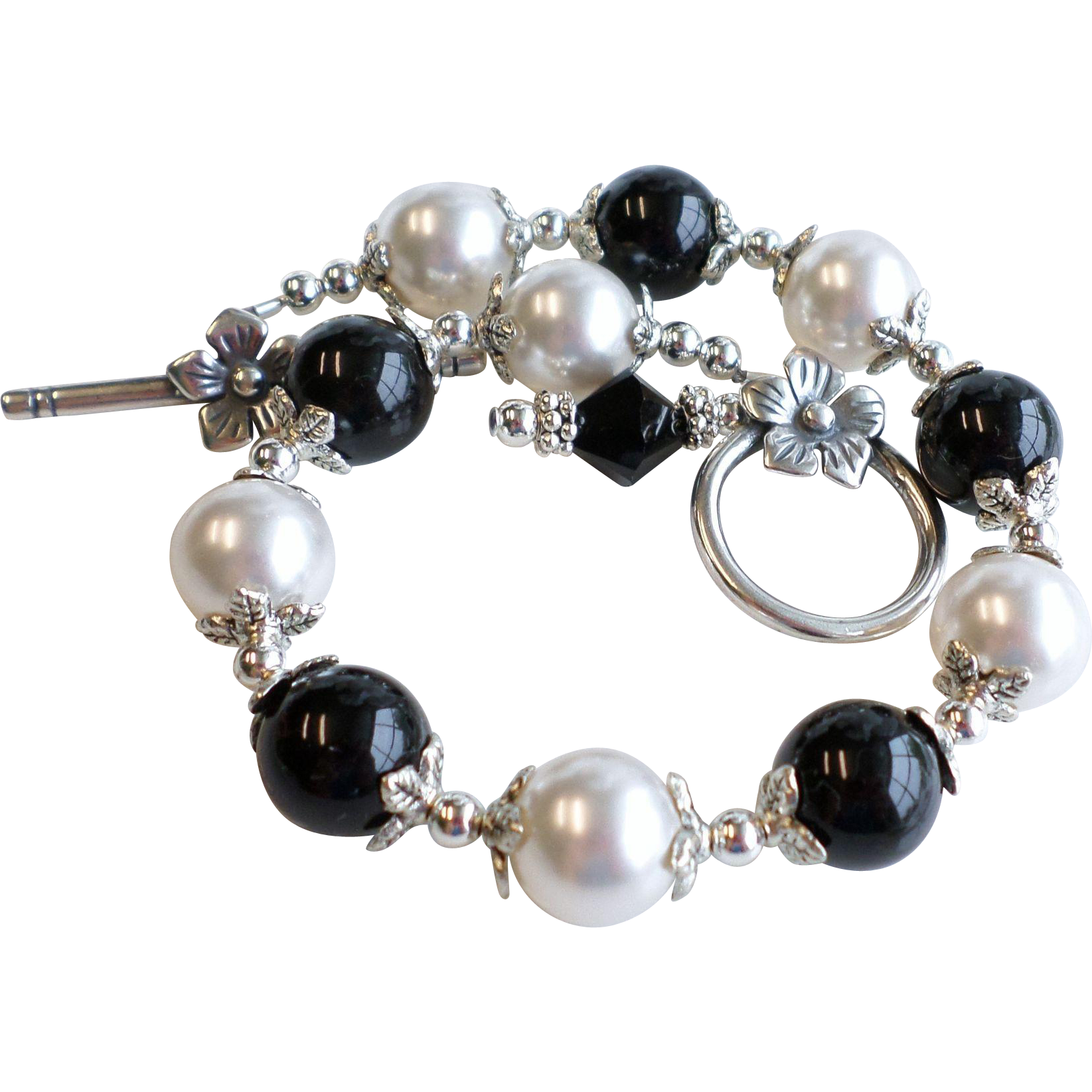 Black and White Swarovski Faux Pearl Bracelet