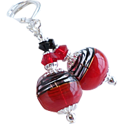 Red and Black Striped Hollow Lampwork Glass Earrings