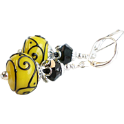 Black and Yellow Scrolls Lampwork Swarovski Crystal Earrings