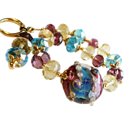Purple and Aqua Lampwork Bracelet With Crystal Rondelles