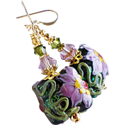 Pink Purple Mauve Floral Lampwork Earrings With Swarovski Crystals