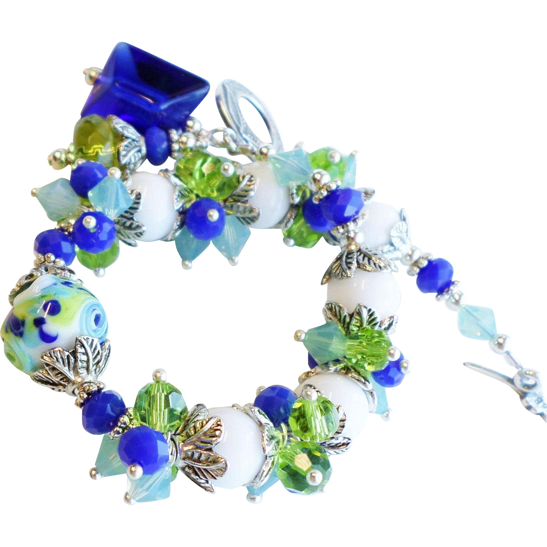 Blue Green White Lampwork Glass Bracelet With Swarovski Crystals
