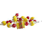 Yellow and Red Lampwork Swarovski Crystal Glass Bracelet