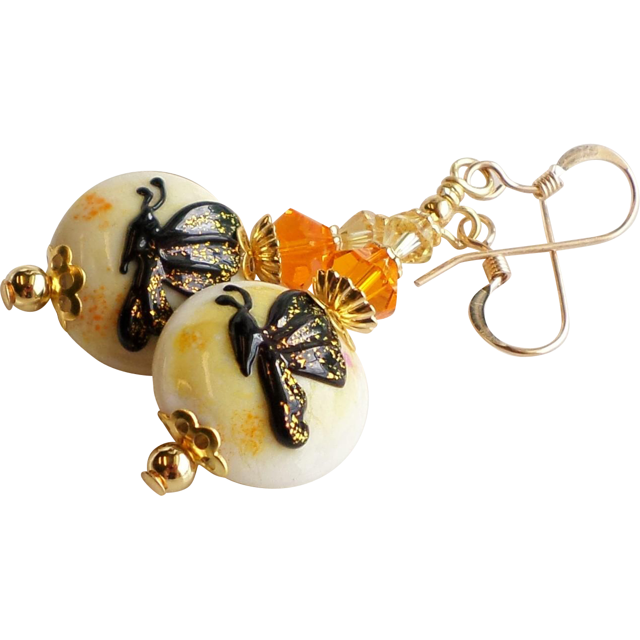 Butterfly Lampwork Earrings In Orange and Yellow with Swarovski Crystals