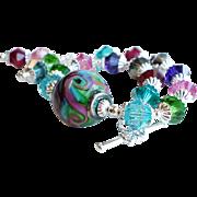 Multi Colored Lampwork Swarovski Crystal Bracelet