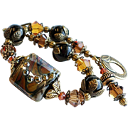Black and Brown Lampwork Bracelet With Black Onyx and Swarovski Crystals
