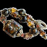 Black and Brown Lampwork Bracelet With Black Onyx and Swarovski Crystals