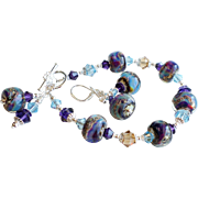 Borosilicate Glass and Swarovski Crystal Bracelet Earrings SET