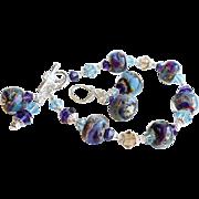 Borosilicate Glass and Swarovski Crystal Bracelet Earrings SET