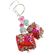 Dark PInk Coral Colored Floral Lampwork Earrings