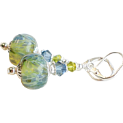 Boro Lampwork Glass Earrings In Blue and Green With Swarovski Crystals
