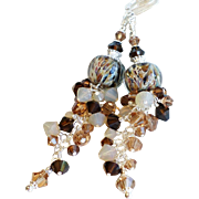 Shades of Brown and Tan Long Boro Glass Lampwork Swarovski Crystal Earrings