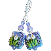 Calla Lily Design Lampwork Earrings In Purple and Green