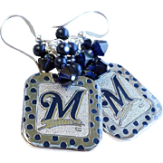 Milwaukee Brewers Themed Baseball Dangle Earrings With Swarovski Crystals
