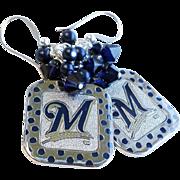 Milwaukee Brewers Themed Baseball Dangle Earrings With Swarovski Crystals