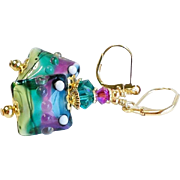 Teal Fuchsia and Blue Lampwork Glass Earrings With Swarovski Crystals