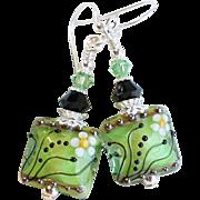 Spring Green Lampwork Earrings With Swarovski Crystals