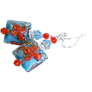 Koi Fish Themed Lampwork Glass Earrings In Aqua and Orange