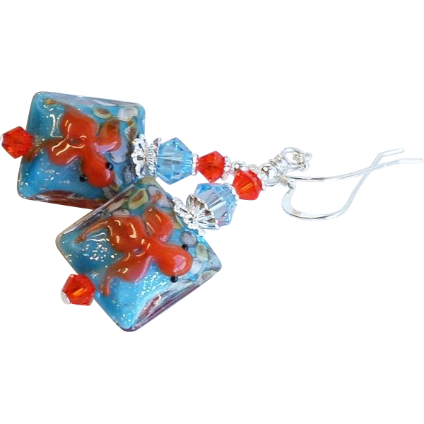 Koi Fish Themed Lampwork Glass Earrings In Aqua and Orange