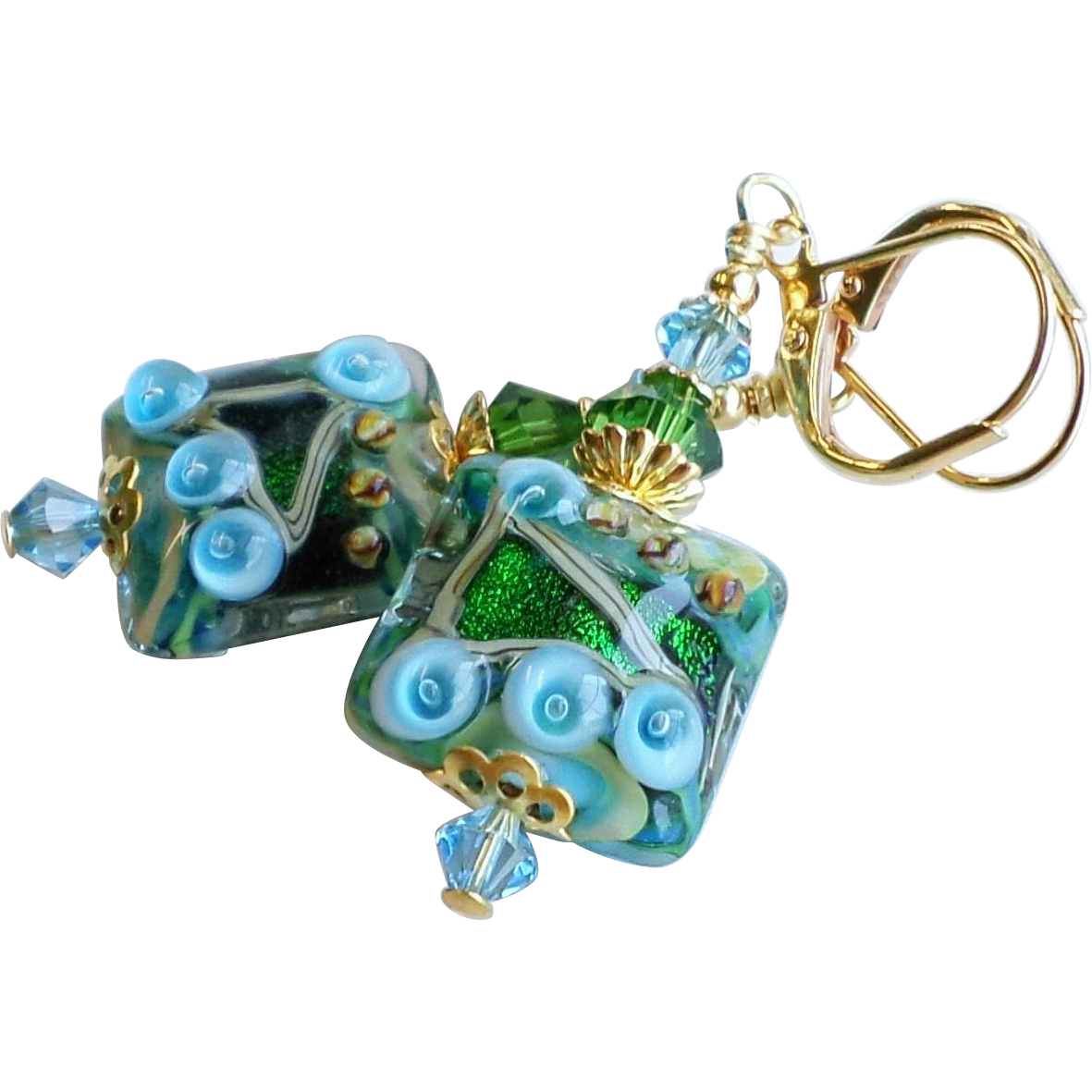 Blue Green Lampwork Earrings With Swarovski Crystals