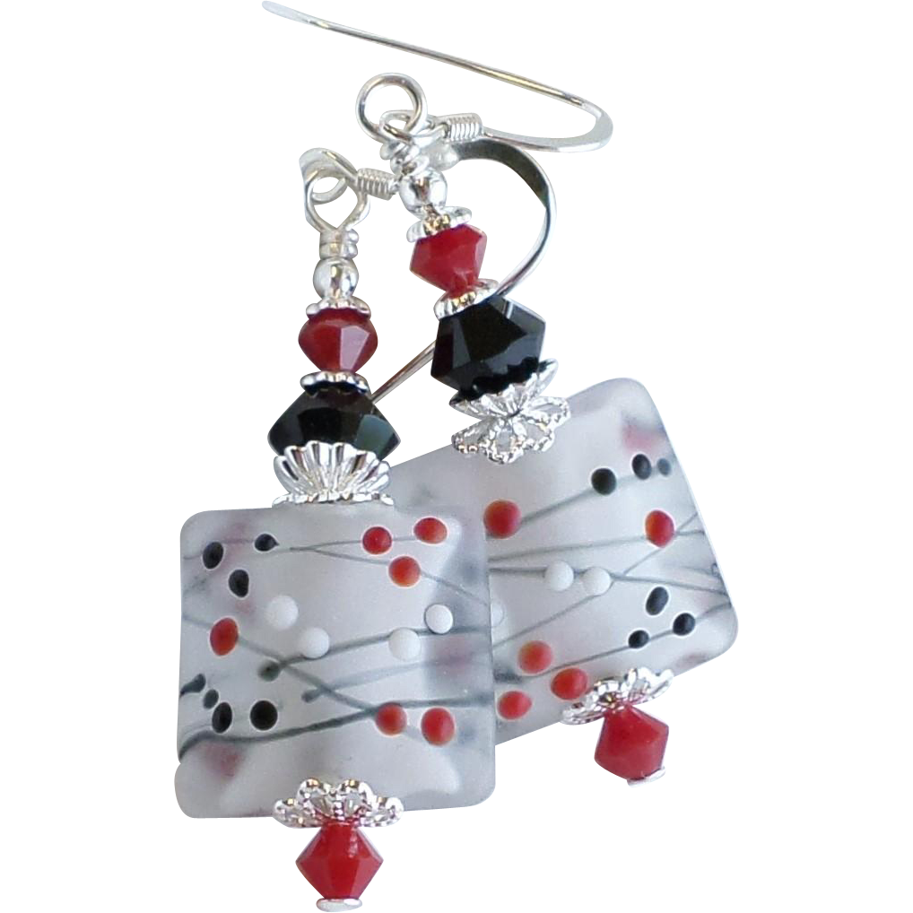 Red and Black Polka Dot Themed Lampwork Earrings With Swarovski Crystals