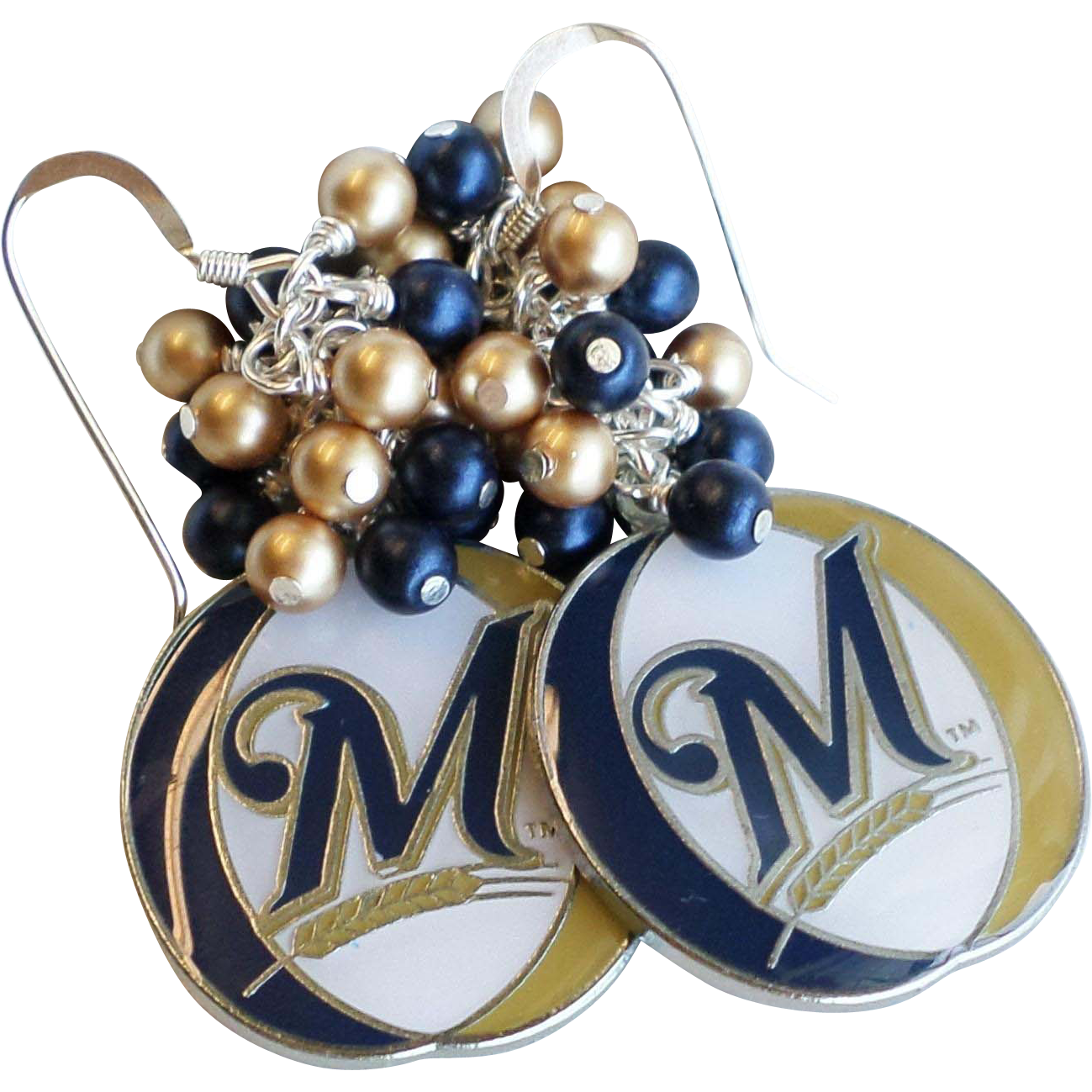 Milwaukee Brewers Themed Cluster Earrings With Swarovski and Glass Faux Pearls