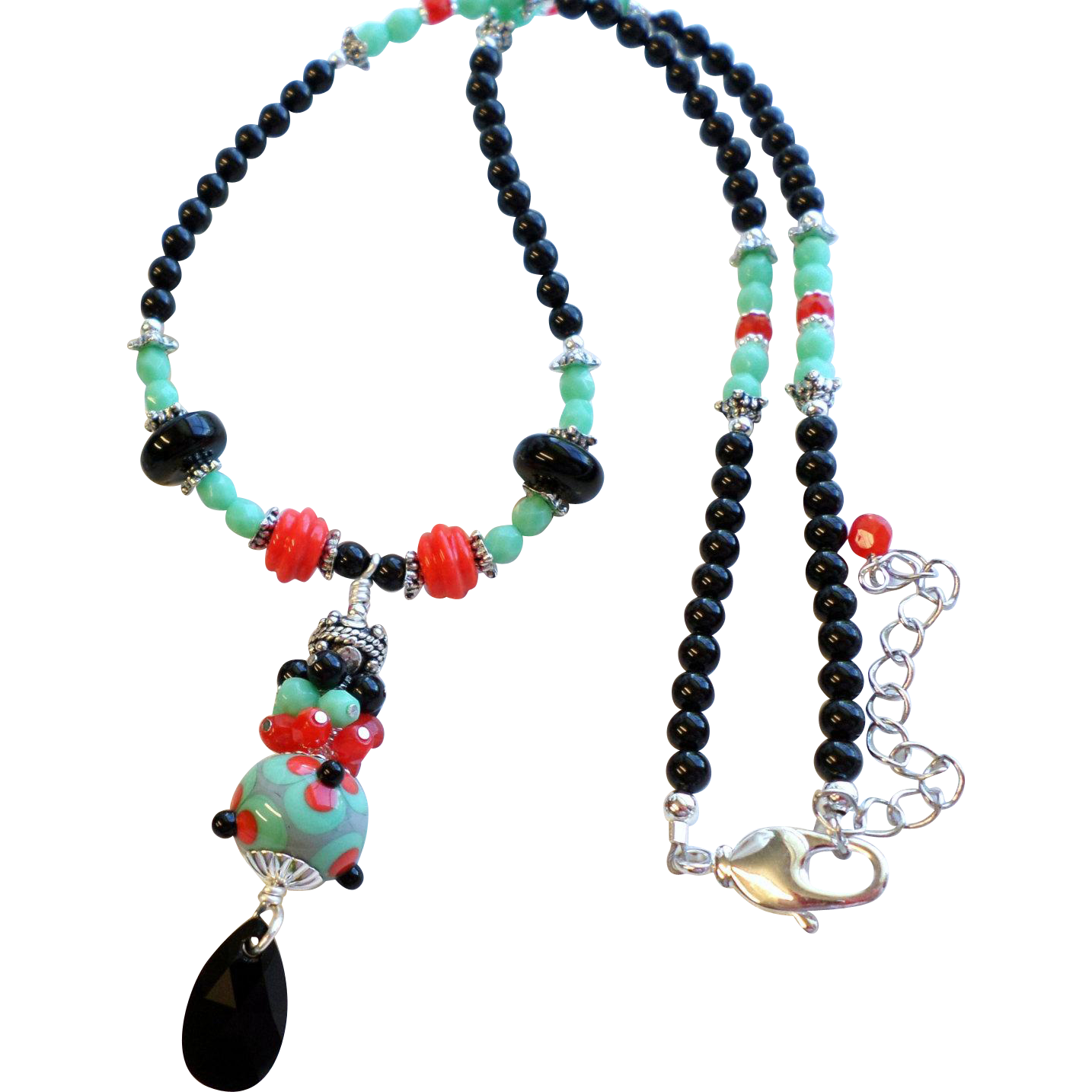 Teal, Green, Red and Black Lampwork Necklace