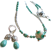 Lampwork Necklace and Earrings Set In Turquoise and Cream Colors