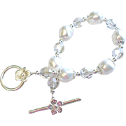 White Swarovski Faux Pearl and Crystal Classic Bracelet