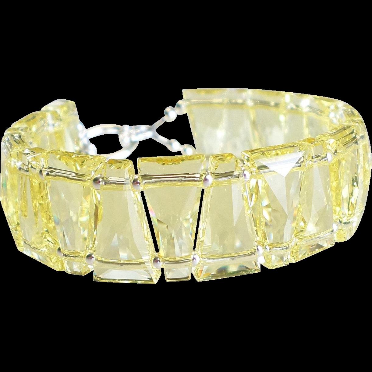 "Light Yellow ""Jonquil"" Swarovski Crystal Statement Cuff Style Bracelet"