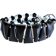 Black Swarovski Crystal Statement Bracelet In Cuff Style