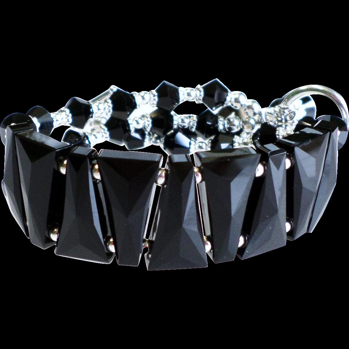 Black Swarovski Crystal Statement Bracelet In Cuff Style