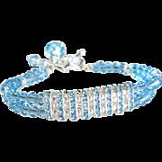 Swarovski Crystal Tennis Style Bracelet In Aquamarine