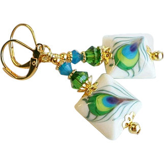 Peacock Feathers Themed Lampwork Earrings With Swarovski Crystals