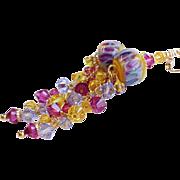 Fuchsia, Yellow and Purple Boro Glass Lampwork Earrings With Swarovski Crystals