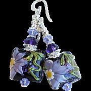 Purple Floral Lampwork Earrings With Swarovski Crystals