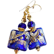 Cobalt Blue and Gold Lampwork Swarovski Crystal Earrings
