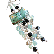 Seafoam Green Blue Long Lampwork Swarovski Crystal Floral Earrings