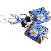 Medium Blue Lampwork Swarovski Crystal Earrings