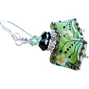 Spring Green Floral Lampwork Earrings With Swarovski Crystals