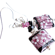 Cherry Blossom Themed Floral Lampwork Earrings With Swarovski Crystals