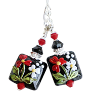 Red and White Floral Lampwork Earrings With Swarovski Crystals