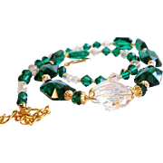 Emerald Green Swarovski Crystal Statement Necklace and Earrings SET