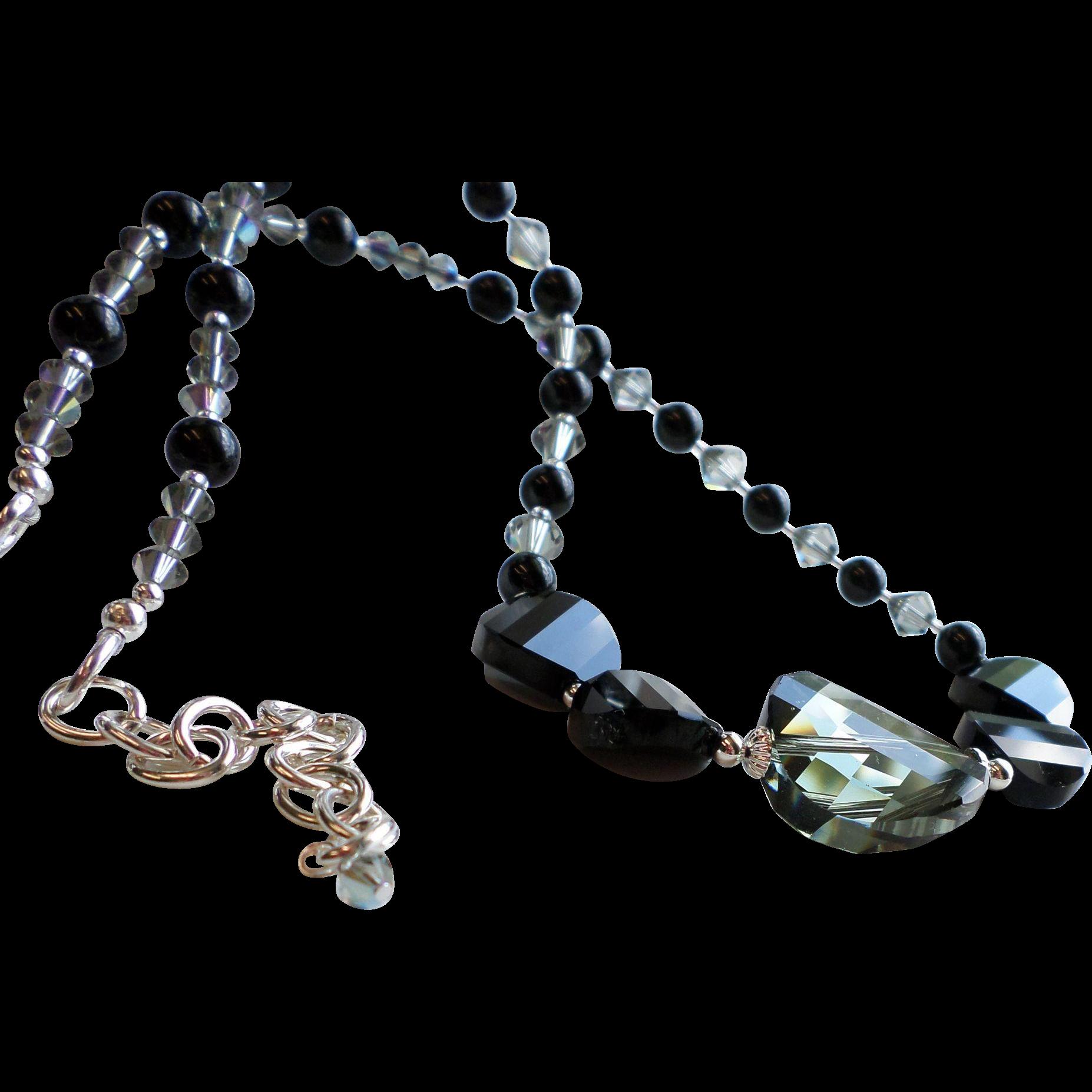 Black Diamond and Jet Black Swarovski Crystal Statement Necklace