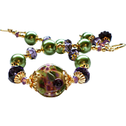Purple and Green Lampwork Bracelet With Glass Pearls and Crystals