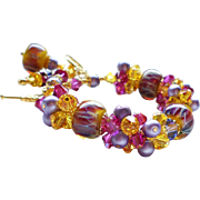 Fuchsia, Purple and Yellow Boro Lampwork Bracelet With Swarovski Crystal Clusters